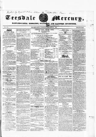 cover page of Teesdale Mercury published on February 25, 1857