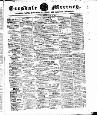 cover page of Teesdale Mercury published on July 7, 1858