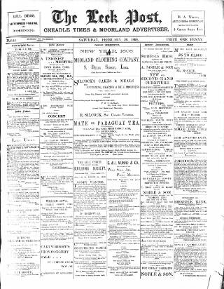 cover page of Leek Post & Times and Cheadle News & Times and Moorland Advertiser published on February 26, 1898