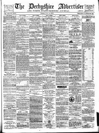 cover page of Derbyshire Advertiser and Journal published on July 16, 1886