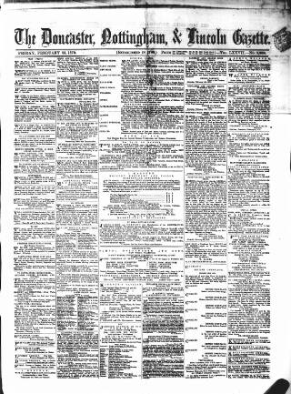 cover page of Doncaster Gazette published on February 25, 1870
