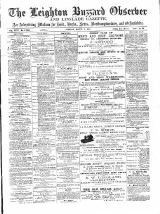 cover page of Leighton Buzzard Observer and Linslade Gazette published on March 9, 1886