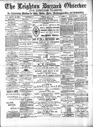 cover page of Leighton Buzzard Observer and Linslade Gazette published on August 8, 1899