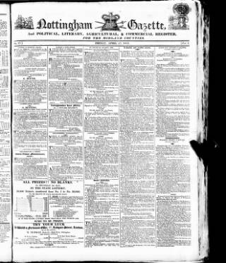 cover page of Nottingham Gazette, and Political, Literary, Agricultural & Commercial Register for the Midland Counties. published on April 23, 1813