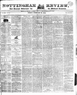 cover page of Nottingham Review and General Advertiser for the Midland Counties published on February 28, 1834