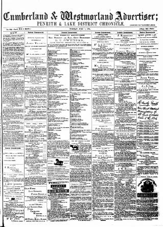 cover page of Cumberland and Westmorland Advertiser, and Penrith Literary Chronicle published on July 7, 1874