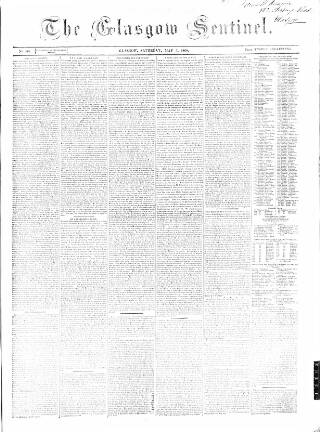 cover page of Glasgow Sentinel published on May 5, 1860