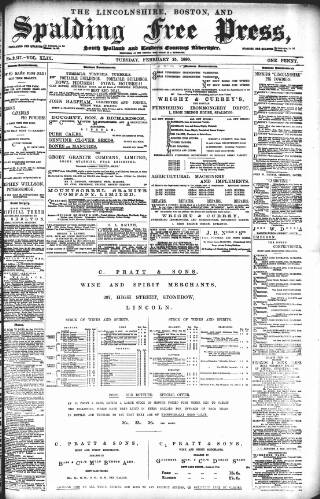 cover page of Lincolnshire Free Press published on February 25, 1896