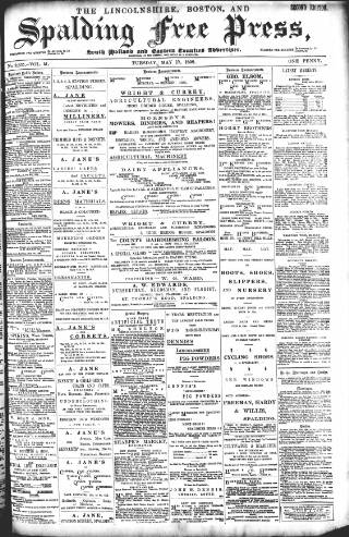 cover page of Lincolnshire Free Press published on May 17, 1898