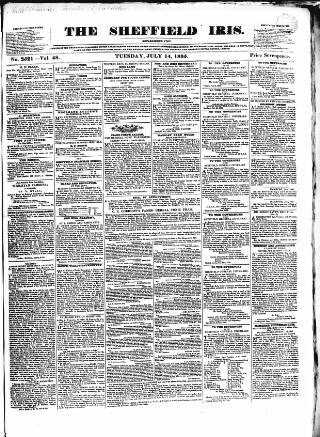 cover page of Sheffield Iris published on July 14, 1835