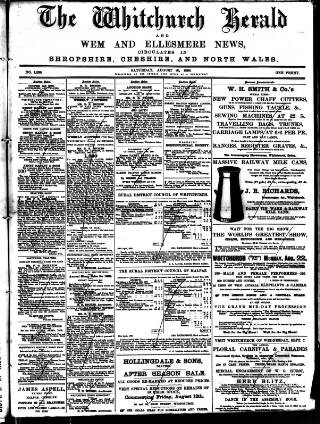 cover page of Whitchurch Herald published on August 20, 1898