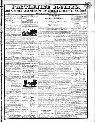 cover page of Perthshire Courier published on July 8, 1830