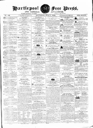 cover page of Hartlepool Free Press and General Advertiser published on July 7, 1860