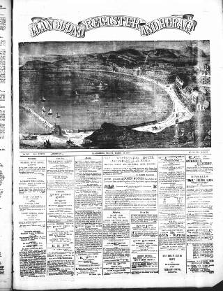 cover page of Llandudno Register and Herald published on March 29, 1889
