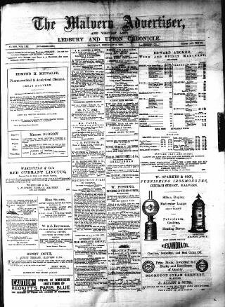 cover page of Illustrated Malvern Advertiser, Visitors' List, and General Weekly Newspaper published on February 3, 1877