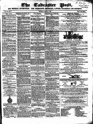 cover page of Tadcaster Post, and General Advertiser for Grimstone published on March 9, 1865