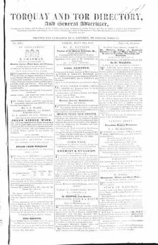 cover page of Torquay Directory and South Devon Journal published on July 31, 1846