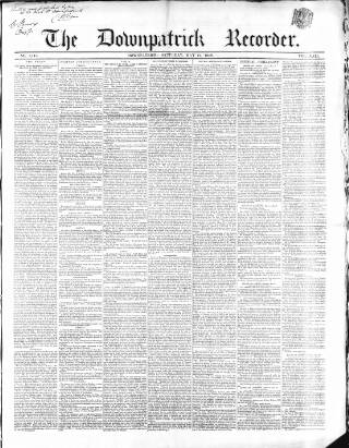cover page of Downpatrick Recorder published on May 15, 1858