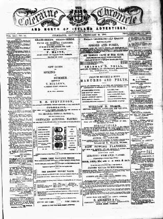 cover page of Coleraine Chronicle published on February 28, 1885