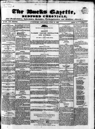 cover page of Bucks Gazette published on July 14, 1849