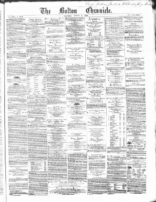 cover page of Bolton Chronicle published on August 8, 1868