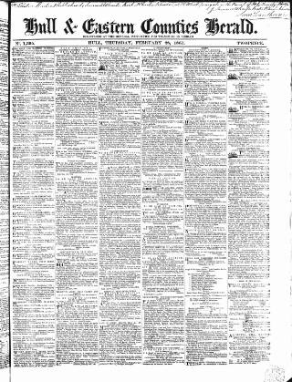 cover page of Hull and Eastern Counties Herald published on February 28, 1867