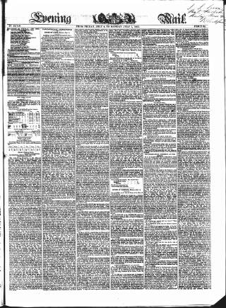 cover page of Evening Mail published on July 7, 1851