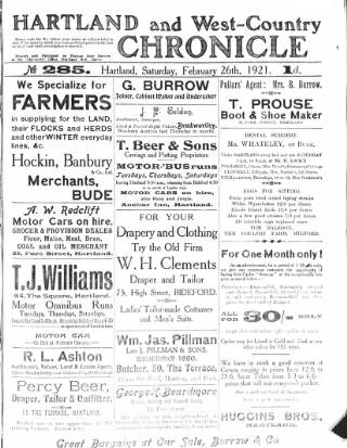 cover page of Hartland and West Country Chronicle published on February 26, 1921