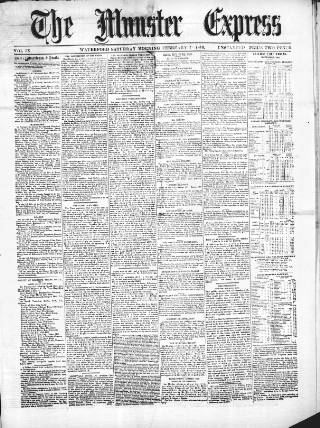 cover page of The Munster express, or, weekly commercial & agricultural gazette. published on February 26, 1870
