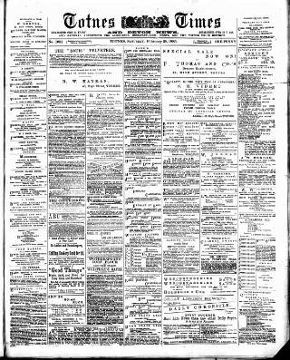 cover page of Totnes Weekly Times published on February 28, 1885