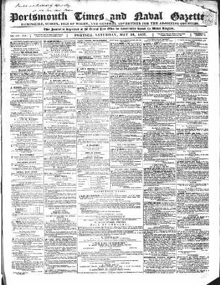 cover page of Portsmouth Times and Naval Gazette published on May 16, 1857