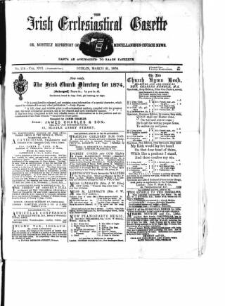 cover page of Irish Ecclesiastical Gazette published on March 21, 1874