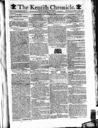 cover page of Kentish Weekly Post or Canterbury Journal published on February 26, 1799