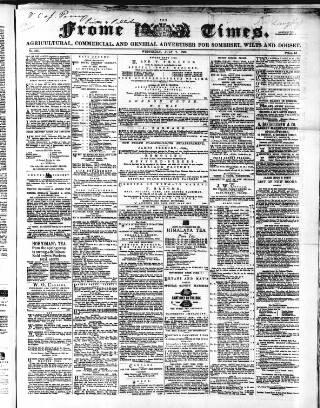 cover page of Frome Times published on July 7, 1869