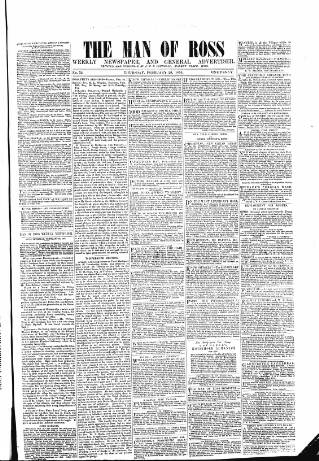 cover page of Man of Ross, and General Advertiser published on February 28, 1856