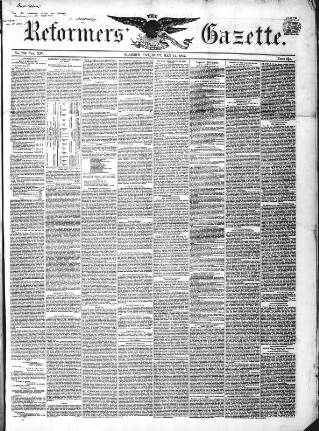 cover page of Glasgow Gazette published on May 15, 1852