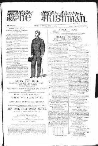 cover page of The Irishman published on July 7, 1877