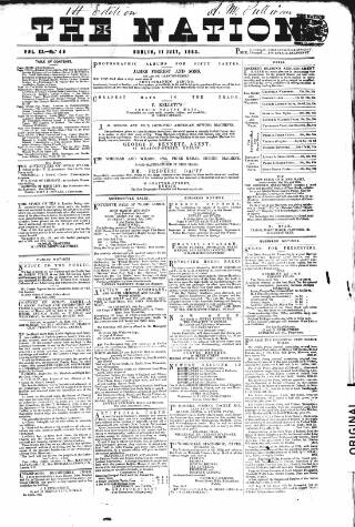 cover page of Dublin Weekly Nation published on July 11, 1863