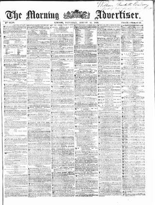 cover page of Morning Advertiser published on August 15, 1863