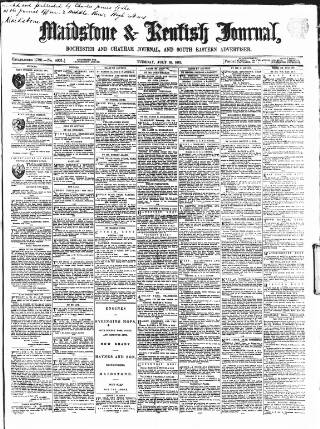 cover page of Maidstone Journal and Kentish Advertiser published on July 16, 1861