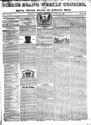 cover page of Pierce Egan's Weekly Courier published on April 26, 1829