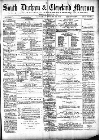 cover page of South Durham & Cleveland Mercury published on August 18, 1877