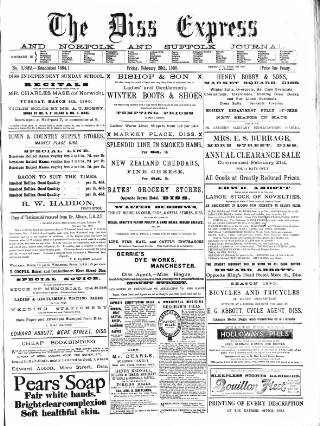 cover page of Diss Express published on February 28, 1890
