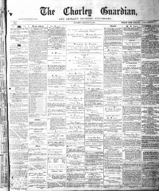cover page of Chorley Guardian published on February 28, 1874