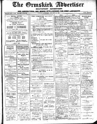 cover page of Ormskirk Advertiser published on February 22, 1940