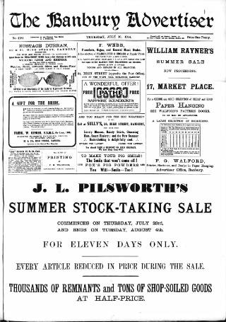 cover page of Banbury Advertiser published on July 16, 1914