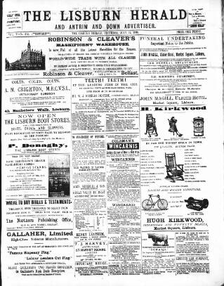 cover page of Lisburn Herald, and Antrim and Down Advertiser published on July 11, 1896