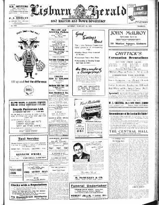 cover page of Lisburn Herald, and Antrim and Down Advertiser published on February 28, 1953