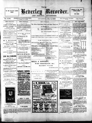 cover page of Beverley and East Riding Recorder published on May 5, 1906