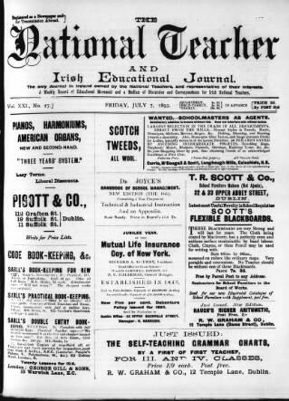 cover page of National Teacher, and Irish Educational Journal (Dublin, Ireland) published on July 7, 1893